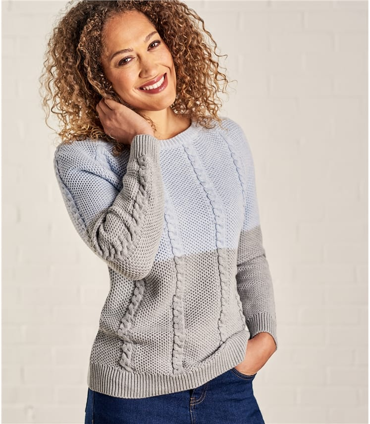 Womens Cotton Cable Colourblock Sweater
