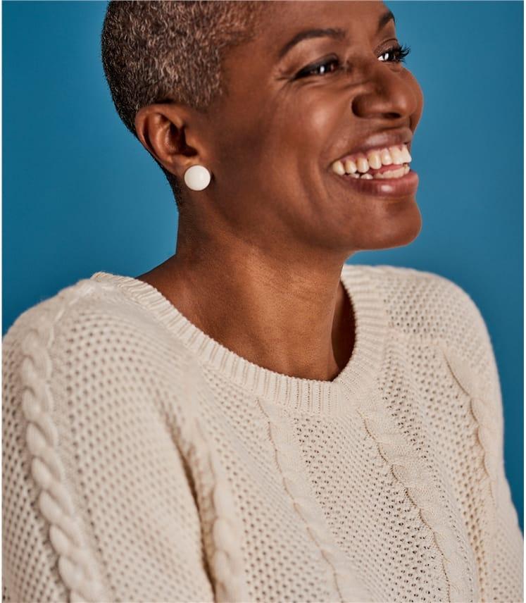 Womens Cotton Cable Colourblock Sweater