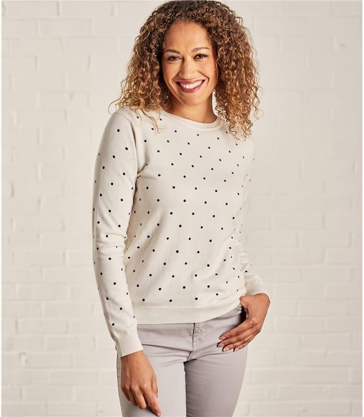 Womens Wool Blend Spot Sweater