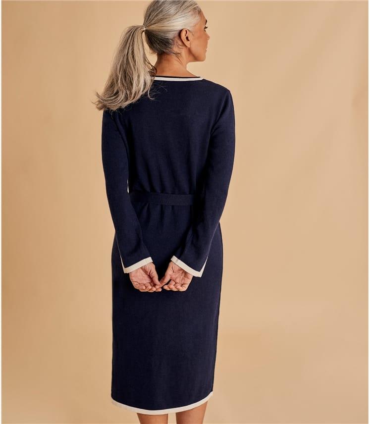 Womens Tie Waist Tipped Dress