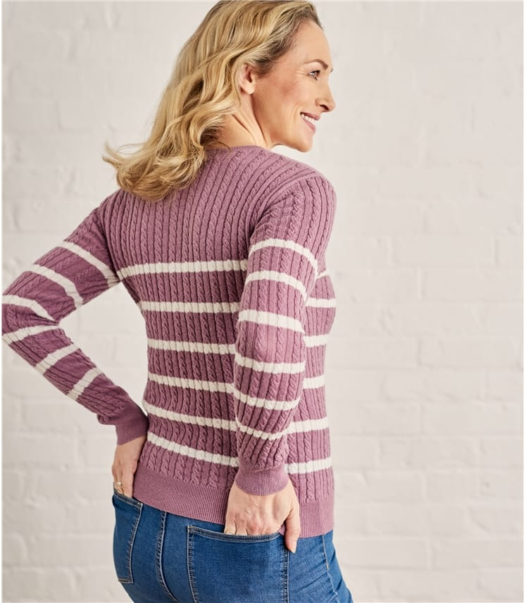 Womens Breton Stripe Cable Crew Neck Sweater