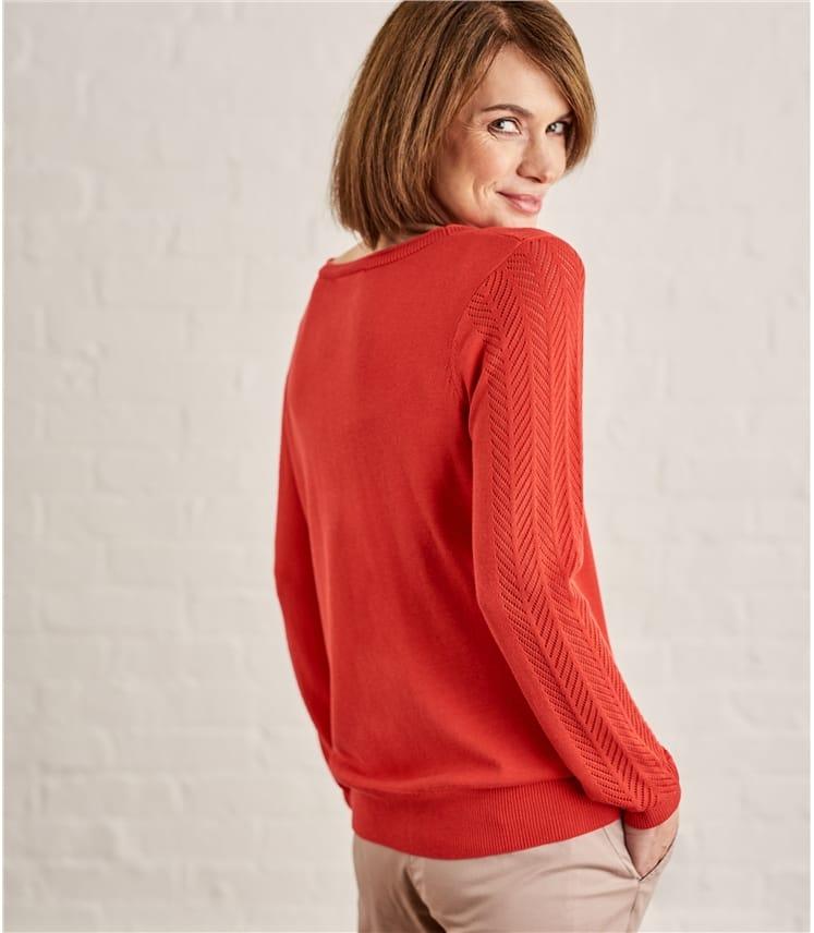 Womens Cotton Blend Pointelle V Neck Cardigan