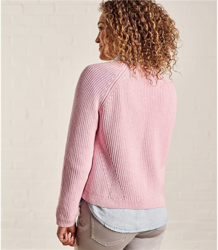 Womens Pure Cotton Crop Edge to Edge Cardigan
