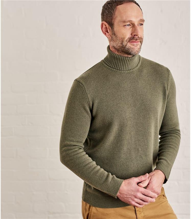 Mens Lambswool Turtle Neck Sweater