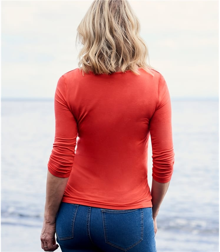 Womens Jersey Boat Neck 3/4 Sleeve T-Shirt