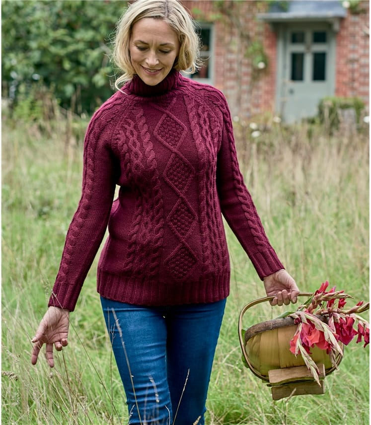 Womens Pure Wool Aran Polo Neck Jumper