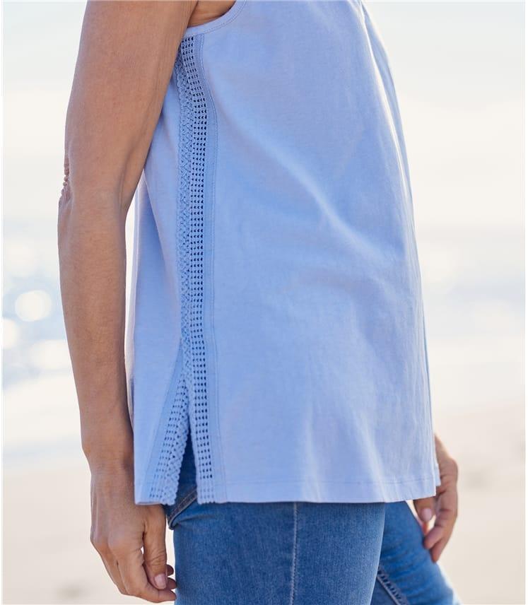 Womens Cotton Lace Insert Tank