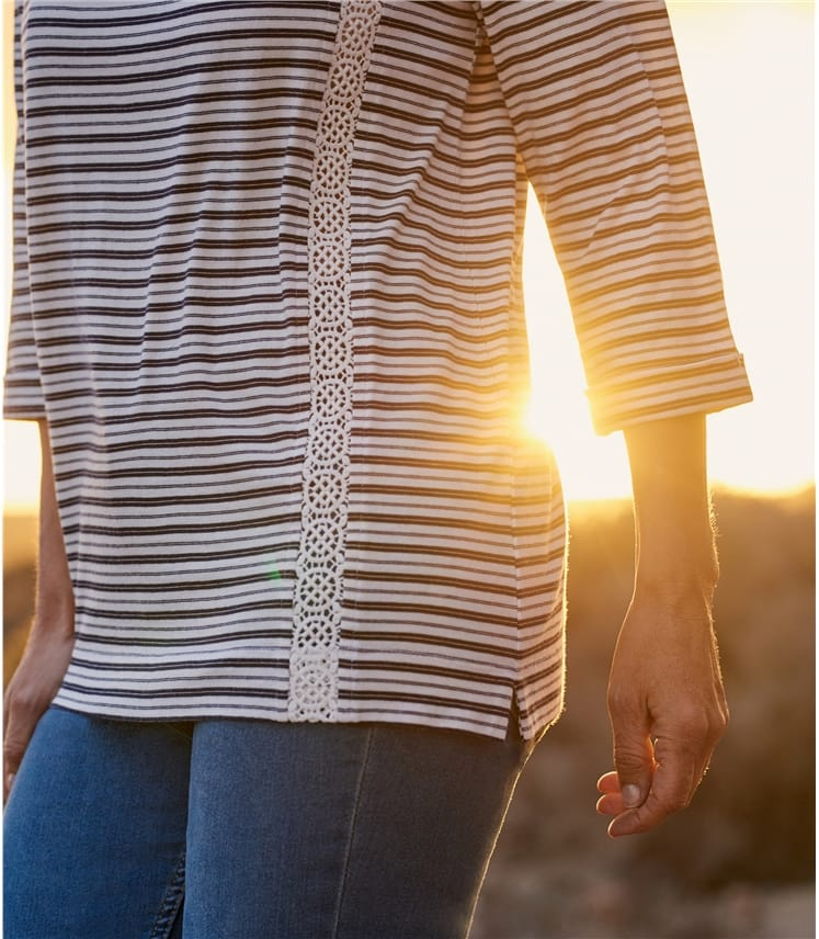 Womens Cotton 3/4 Sleeve Lace Insert Top