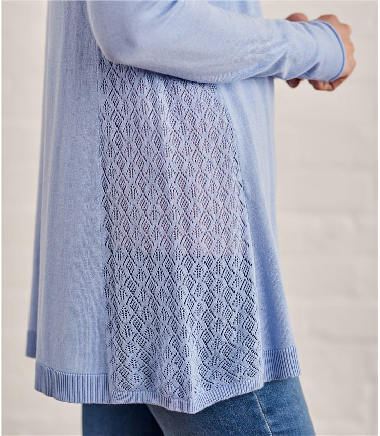 Womens Cotton Pointelle Panel Jumper