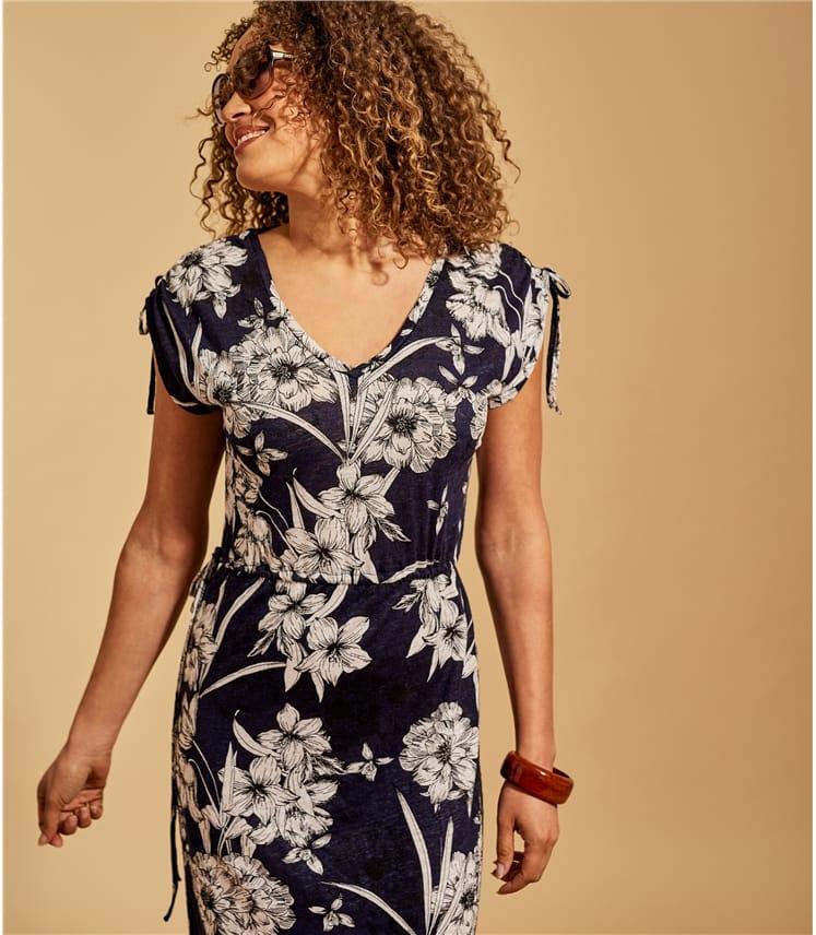 Womens Linen Drawstring Sleeve Dress
