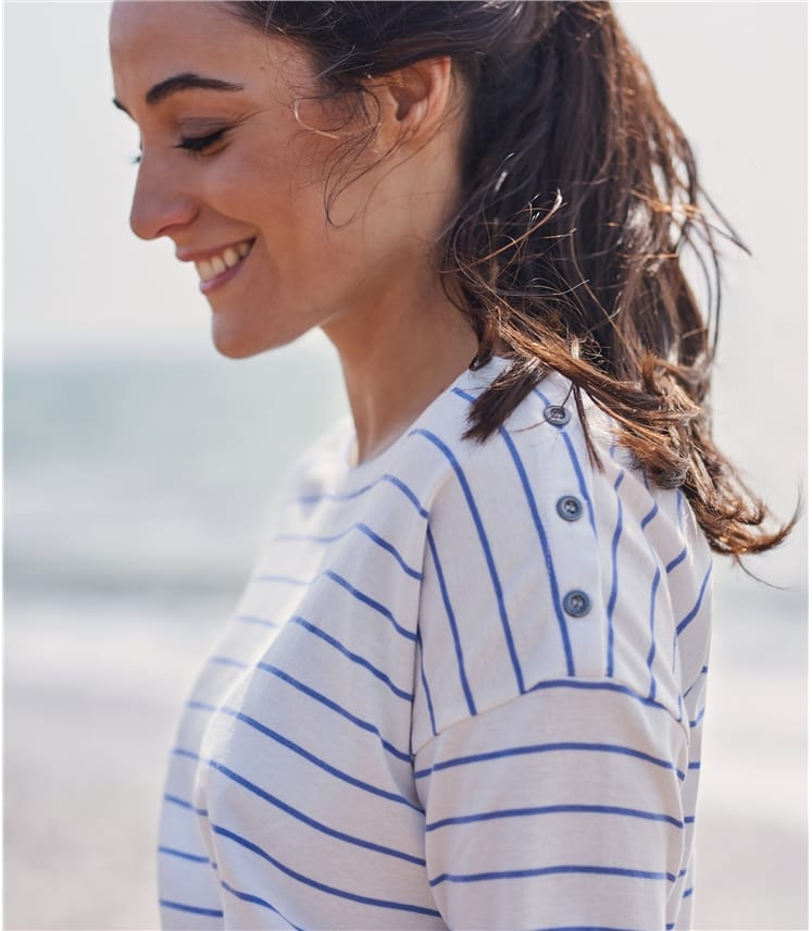 Womens Drop Shoulder Button Oversized Tee