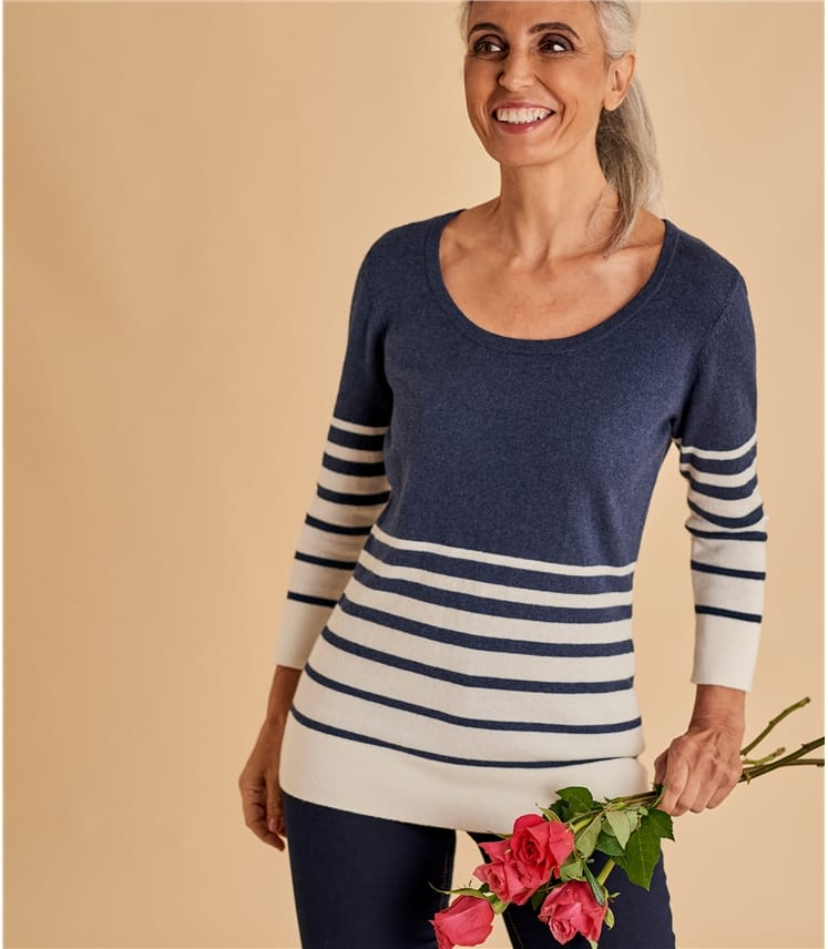 Womens Wool Blend Fitted Scoop Neck Sweater