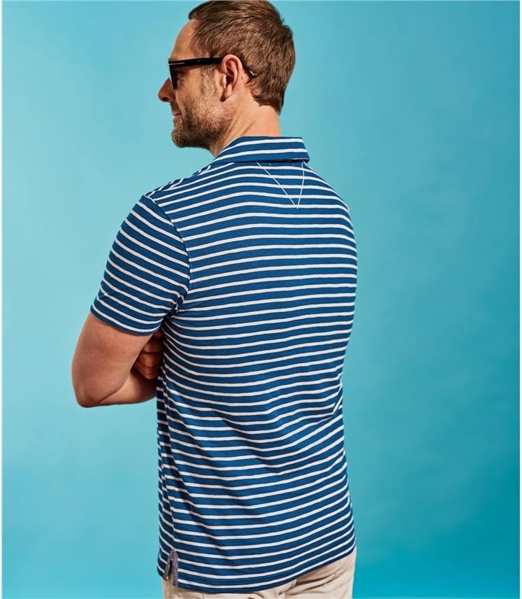 Mens Jersey Stripe Polo Shirt