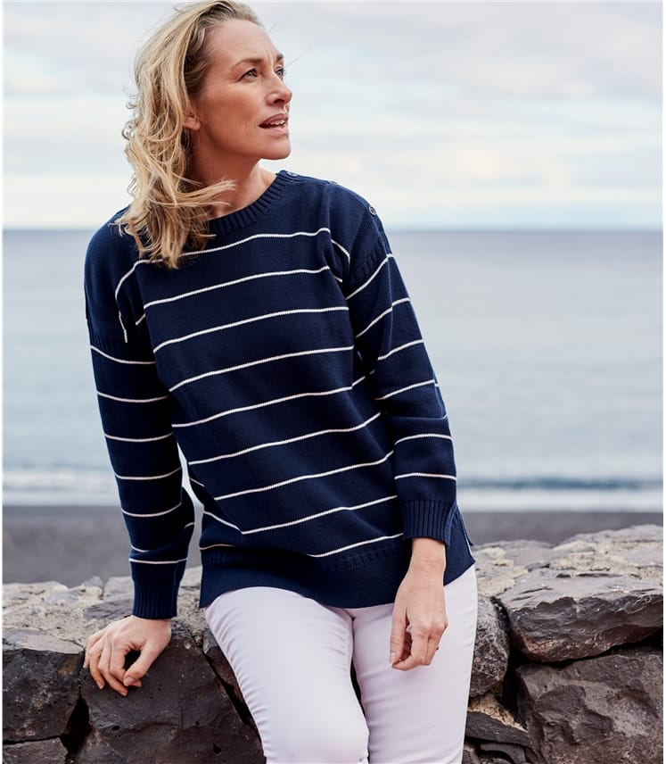 Womens Cotton Stripe Guernsey Sweater