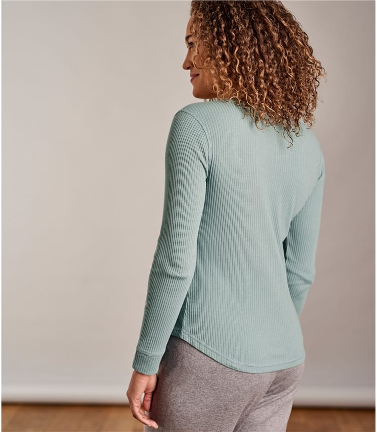 Womens Rib Button Lounge Top