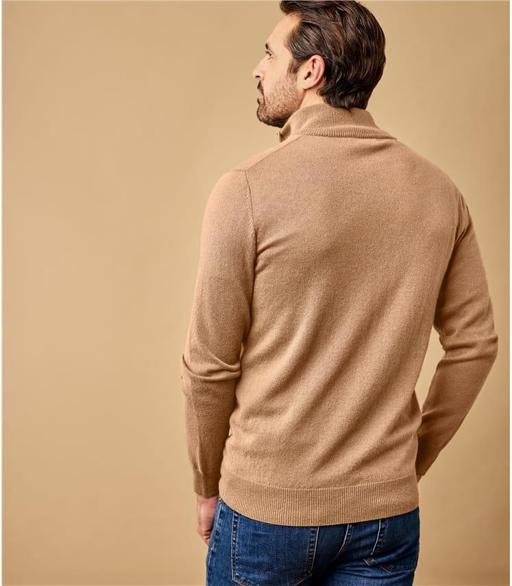 Mens Cashmere and Merino Zip Neck Sweater