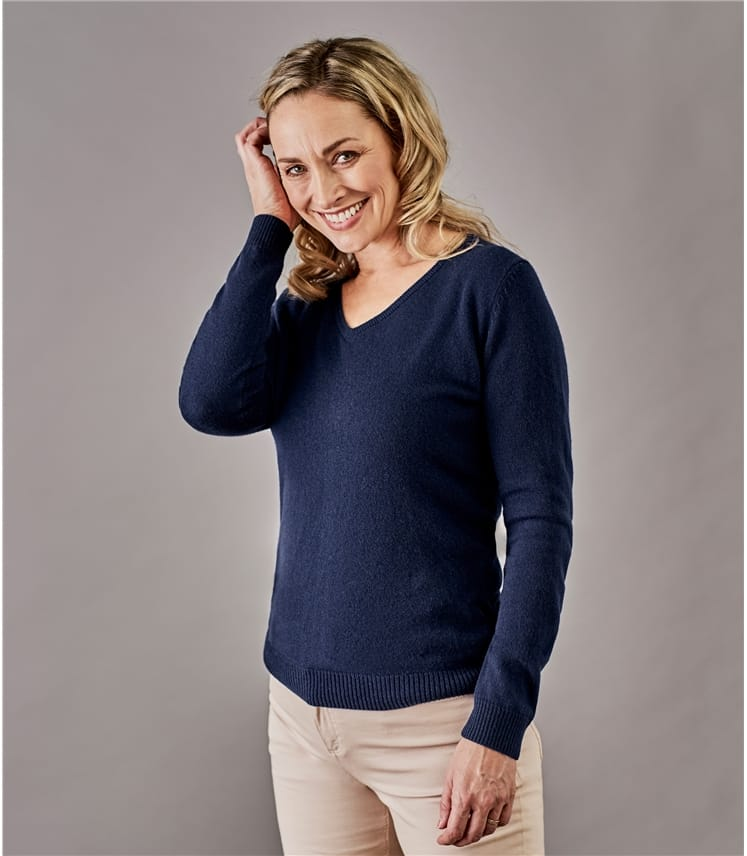 dd06da8b31426 Navy Pure Cashmere | Womens Pure Cashmere V Neck Jumper