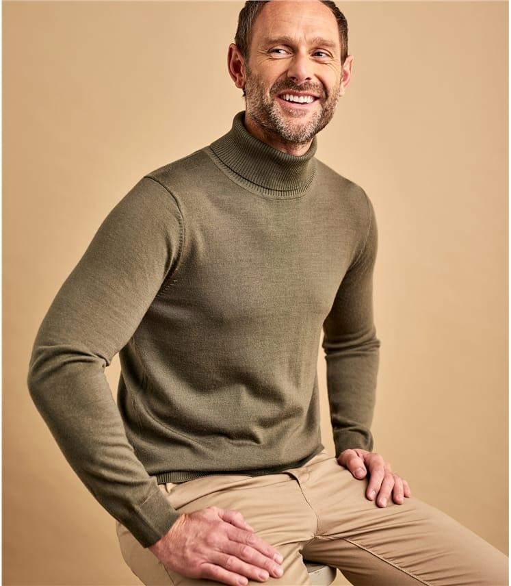 Mens 100% Merino Turtle Neck Sweater