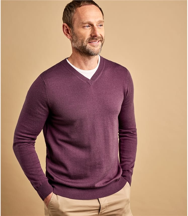 Mens New Merino V Neck Sweater