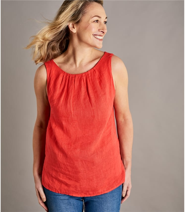 Womens Round Neck Sleeveless Linen Top