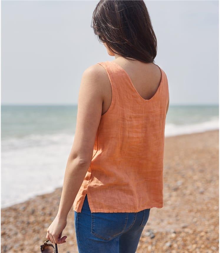 Womens Round Neck Sleeveless Linen Top