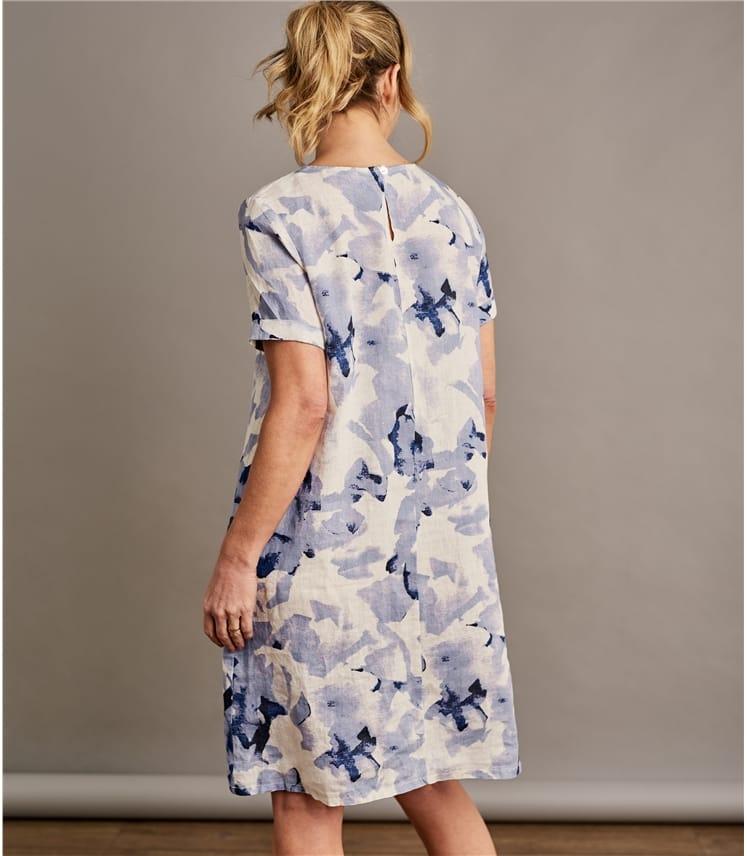 Womens Linen Printed Tunic Dress