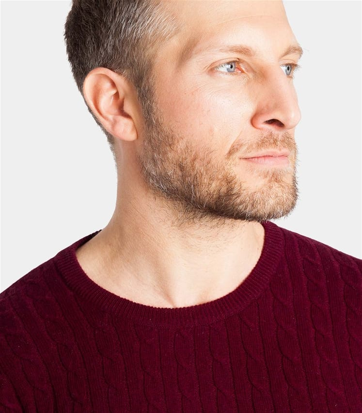 Mens Cashmere and Merino Cable Crew Neck Sweater