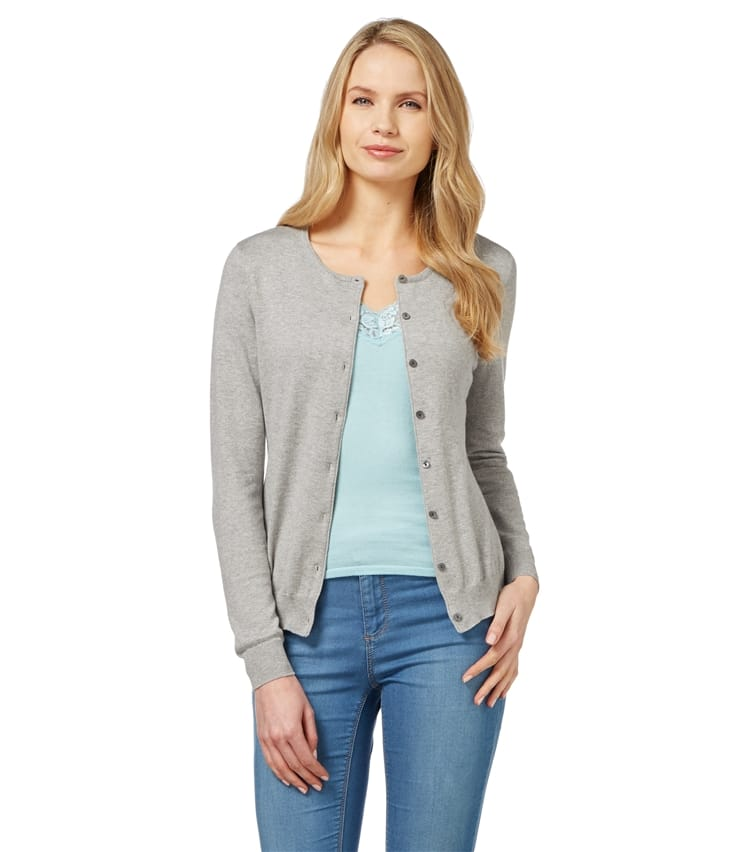 Womens Silk Cotton Crew Neck Cardigan