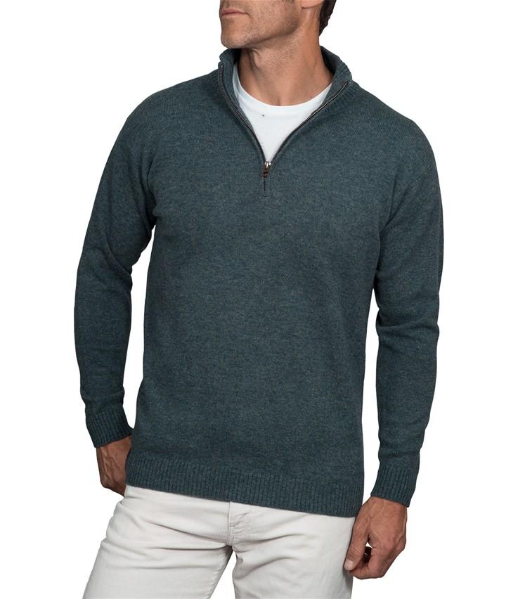 Mens Lambswool Zip Neck Sweater