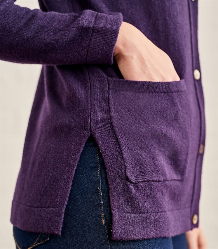 Womens Lambswool Collared Button Through Cardigan