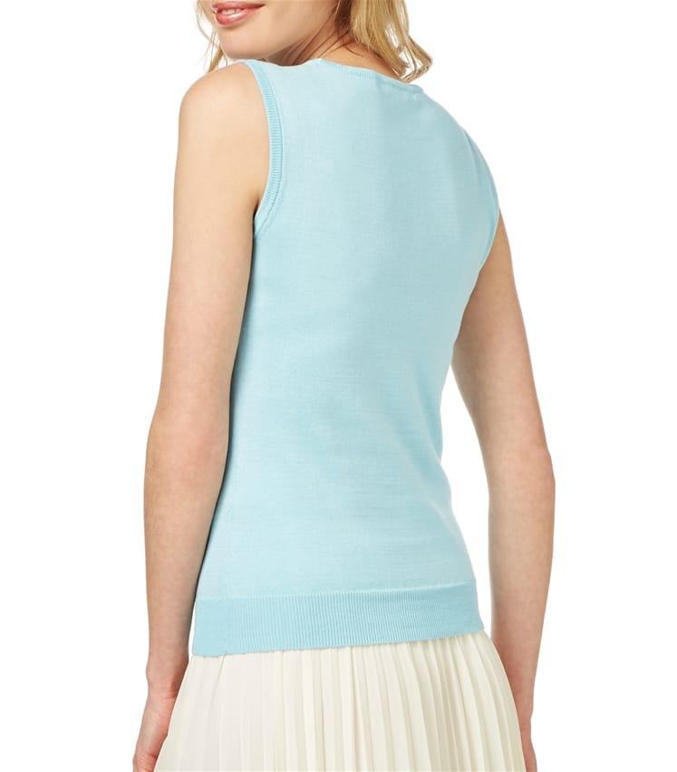 Womens Silk and Cotton Scoop Neck Sleeveless Jumper