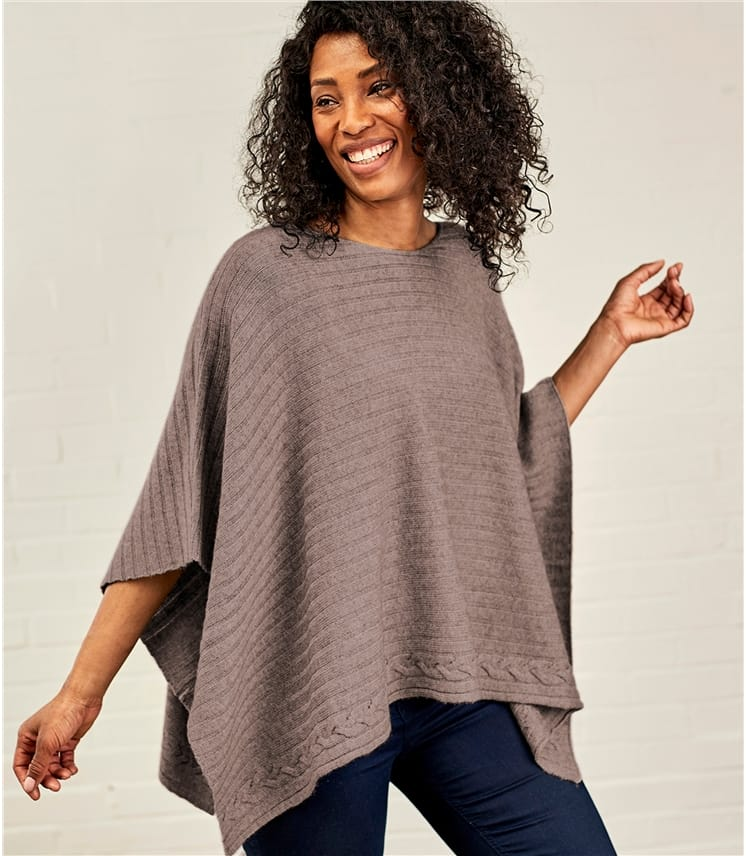 Womens Cashmere and Merino Ribbed Poncho