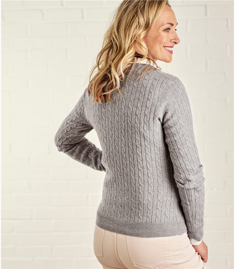 Womens Cashmere and Merino Cable Crew Neck Sweater