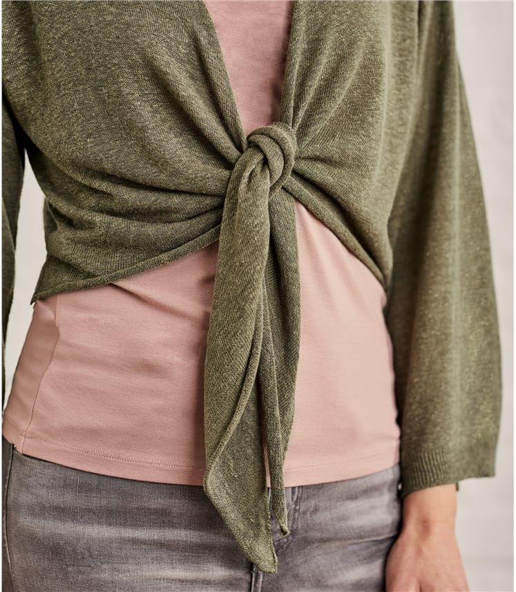 Womens Linen Blend Kimono Sleeve Tie Cardigan