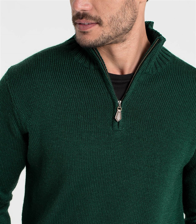 Mens Pure Wool Country Zip Neck Sweater