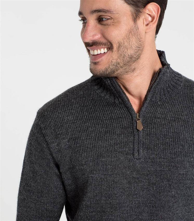 Country-Pullover mit kurzer Reißverschluss aus reiner Wolle für Herren