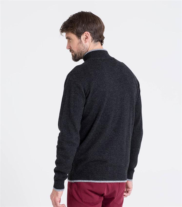 Mens Lambswool Glen Loch Zipper Sweater