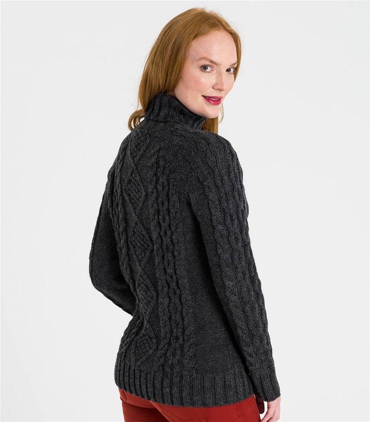 Pullover mit Aran-Muster und Rollkragen aus reiner Wolle für Damen