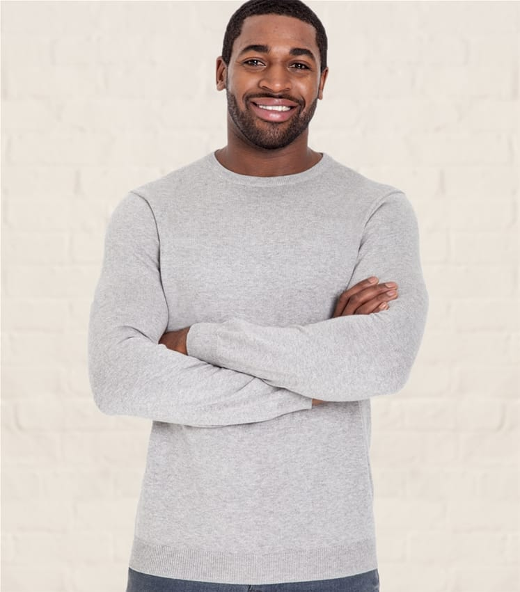 Mens Cashmere and Cotton Crew Neck Sweater